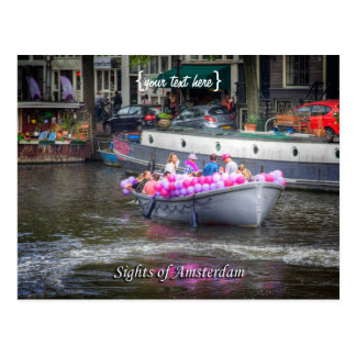 Barco del fiesta del globo, vistas de Amsterdam Tarjeta Postal