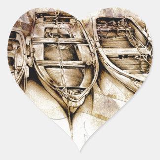 Barco del fineart F068 del vintage Pegatina En Forma De Corazón