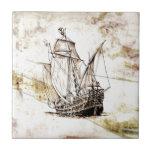 Barco del fineart F070 del vintage Azulejo Ceramica