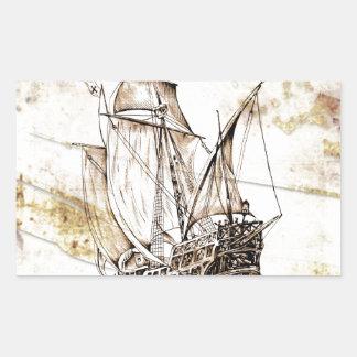 Barco del fineart F070 del vintage Pegatina Rectangular