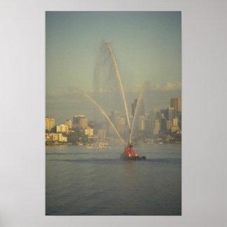 Barco del fuego, puerto de Sydney, Australia Posters