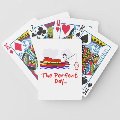 Barco del hombre de la pesca baraja de cartas