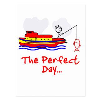 Barco del hombre de la pesca tarjeta postal