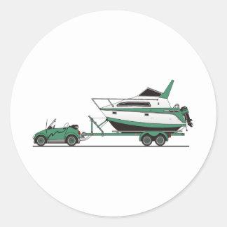 Barco del poder del coche de Eco Pegatina Redonda