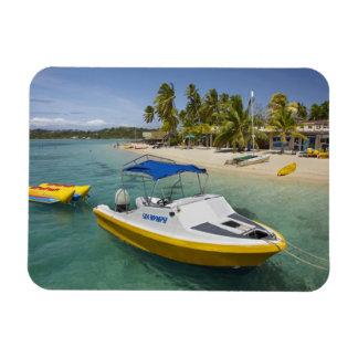 Barco del Powerboat y de plátano Imanes