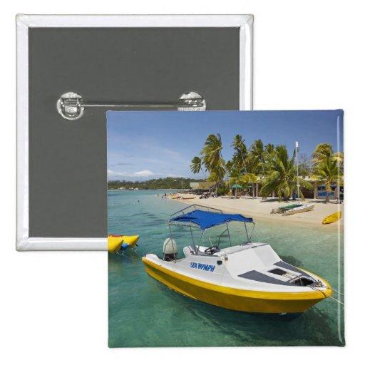 Barco del Powerboat y de plátano Pin Cuadrado