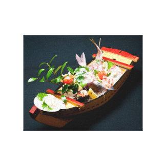 Barco del Sashimi, cocina japonesa Impresiones En Lienzo Estiradas