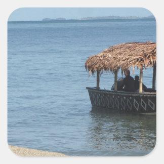 Barco del tejado cubierto con paja pegatina cuadradas personalizada