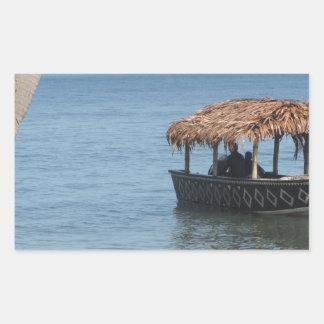 Barco del tejado cubierto con paja rectangular pegatinas