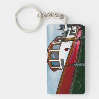 Barco del tirón del vintage llavero rectangular acrílico a una cara
