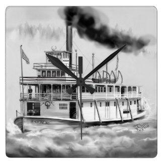 Barco del vapor de Ione el lado ocultado Reloj Cuadrado