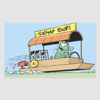 Barco divertido del viaje del cocodrilo cómico pegatina rectangular