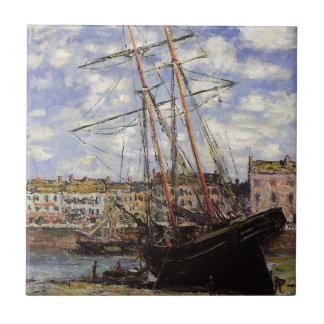 Barco durante la bajamar en Fecamp de Claude Monet Azulejo Cuadrado Pequeño