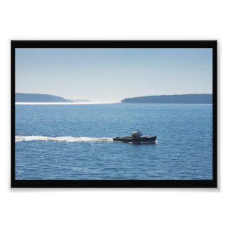 Barco e islas de la langosta de la isla desierta cojinete