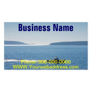 Barco e islas de la langosta de la isla desierta tarjetas de visita