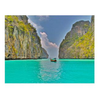 barco en bahía de la phi de la phi de Kho Tarjetas Postales