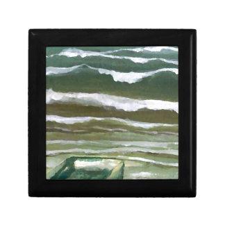 Barco en el borde del arte de las olas oceánicas d cajas de recuerdo