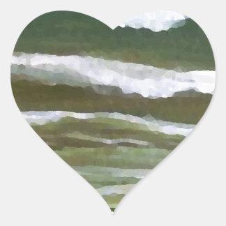 Barco en el borde del arte de las olas oceánicas pegatina en forma de corazón