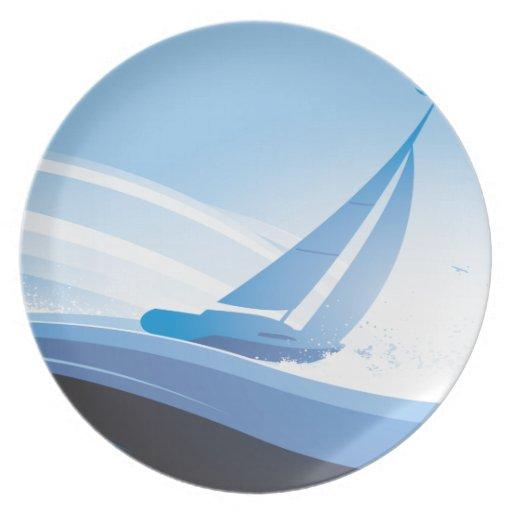 Barco en el mar plato para fiesta