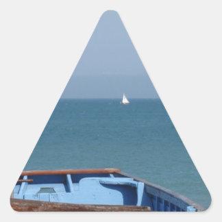 Barco en el trato pegatina triangular