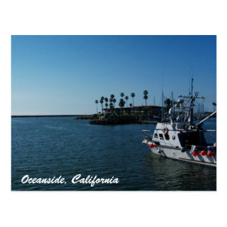 Barco en la costa, postal de California