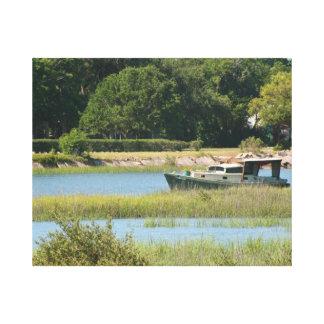 Barco en la entrada de St Augustine en la Florida Lienzo Envuelto Para Galerías