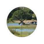 Barco en la entrada de St Augustine en la Florida Relojes De Pared