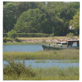 Barco en la entrada de St Augustine en la Florida Servilleta