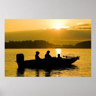 Barco en la salida del sol impresiones