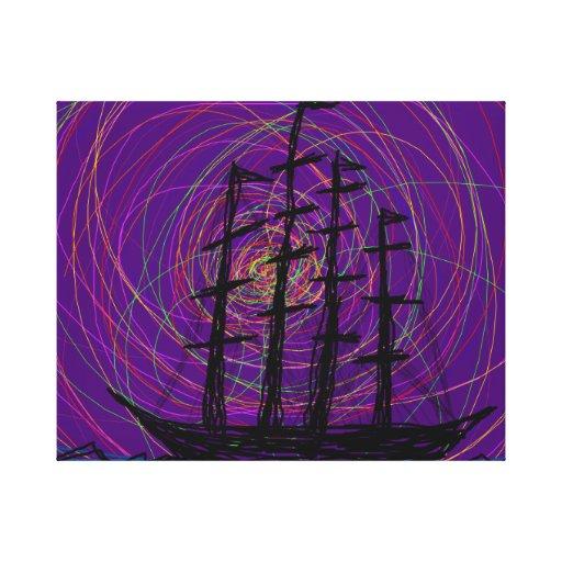 barco en un mar oscuro impresiones en lona estiradas