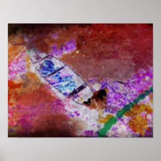 Barco en un poster sangriento del río
