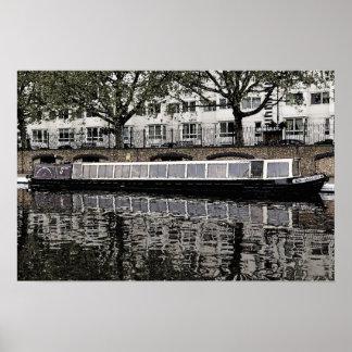 Barco estrecho 'Milton de Londres Waterbus Compain Póster