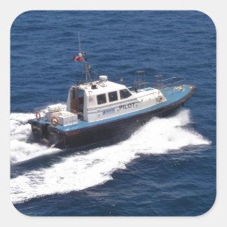 Barco experimental a la velocidad pegatina cuadrada