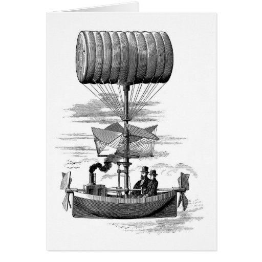 Barco fantástico del globo del dirigible de Steamp Tarjeta De Felicitación