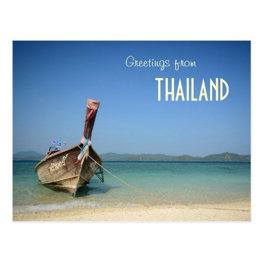 barco largo tradicional del transporte de Tailandi Tarjeta Postal