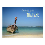 barco largo tradicional del transporte de Tailandi Tarjetas Postales