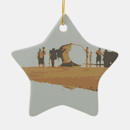 Barco na praia adorno navideño de cerámica en forma de estrella