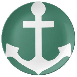 Barco náutico del marinero de la placa del ancla plato de cerámica