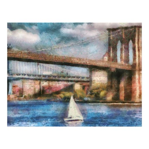Barco - navegación debajo del puente de Brooklyn Tarjeta Publicitaria