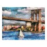Barco - navegación debajo del puente de Brooklyn Membrete A Diseño