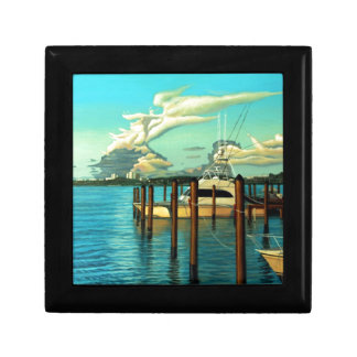 Barco, océano, cielo, nube, paisaje marino, pintur cajas de joyas