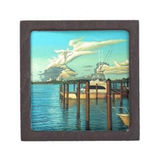 Barco, océano, cielo, nube, paisaje marino, pintur caja de regalo de calidad
