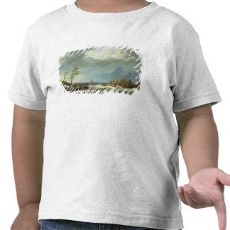 Barco pesquero holandés cogido en una orilla de camisetas