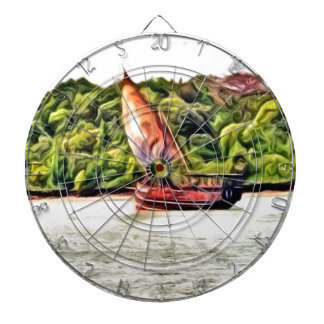 barco pintado tablero dardos