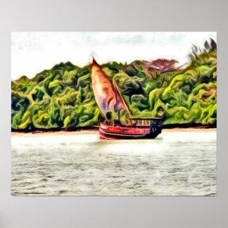 Barco pintado póster