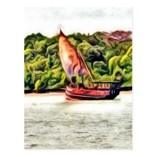 barco pintado tarjetas postales