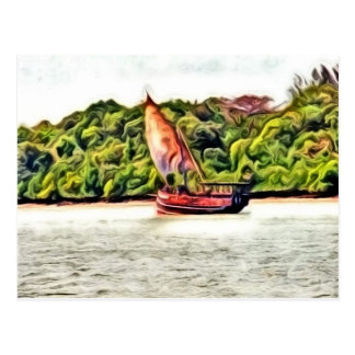Barco pintado postales