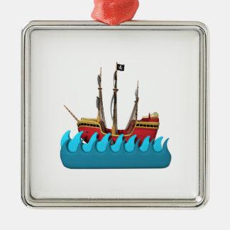 Barco pirata 2 adorno cuadrado plateado