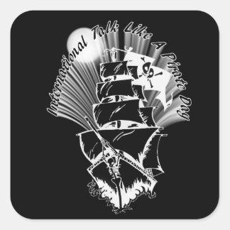Barco pirata - charla internacional como un día pegatina cuadrada