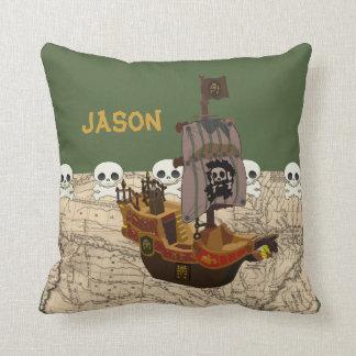 Barco pirata de la diversión, mapa y personalizaci cojin